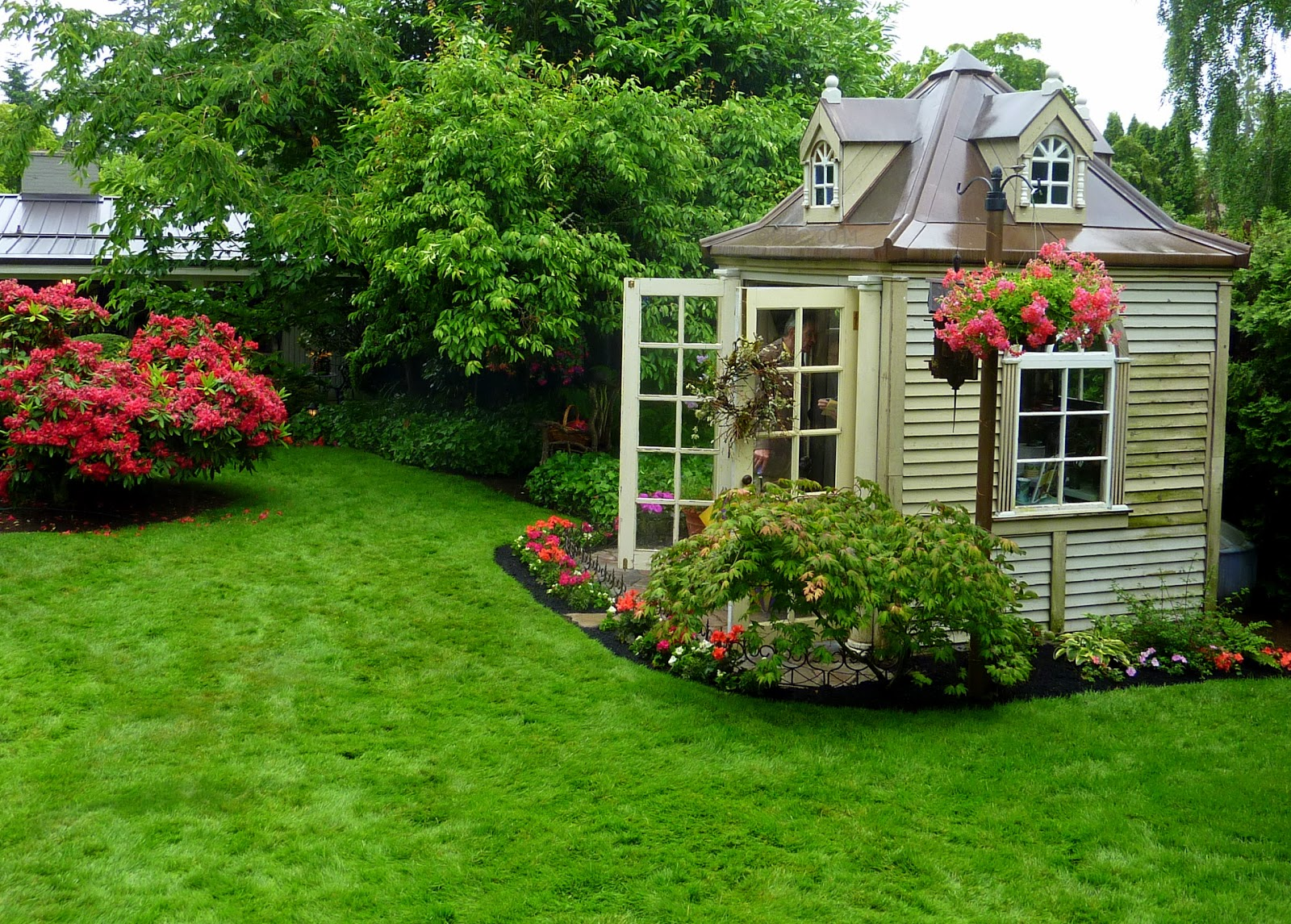 Garden shed, french doors