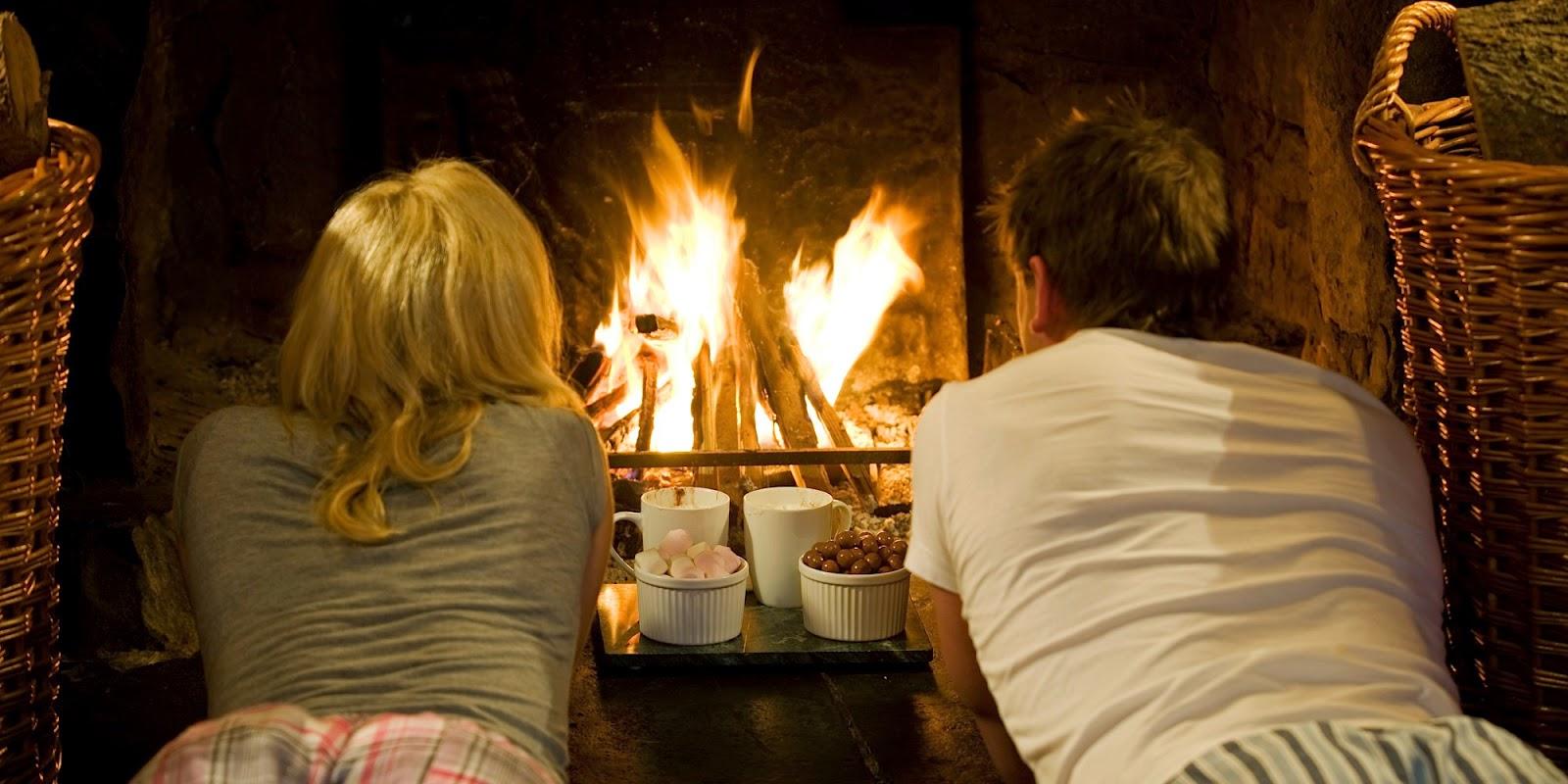 romantic fireplace part 41 wood logs fire burn in fireplace