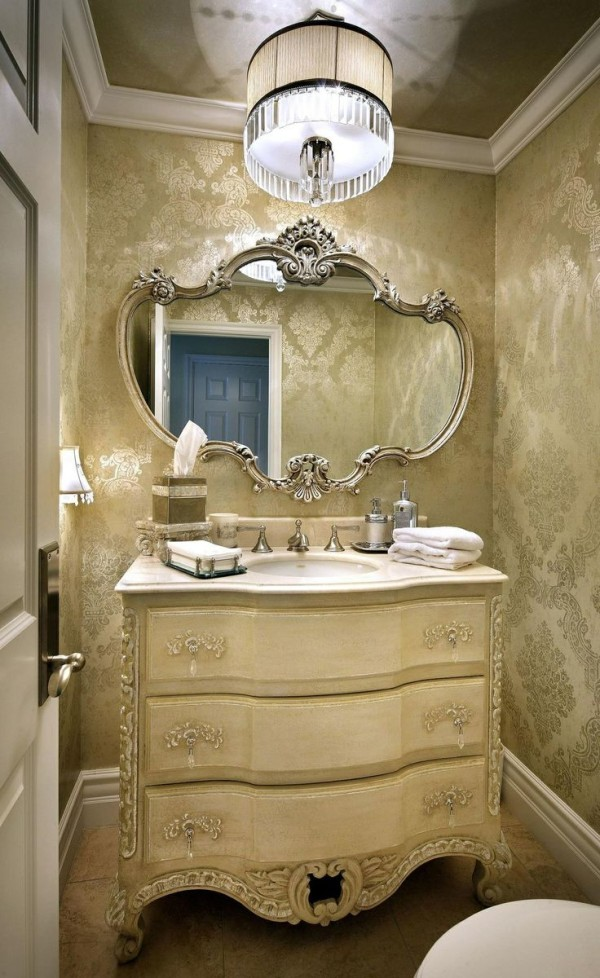 Powder room makeover ideas for Powder bathroom vanities